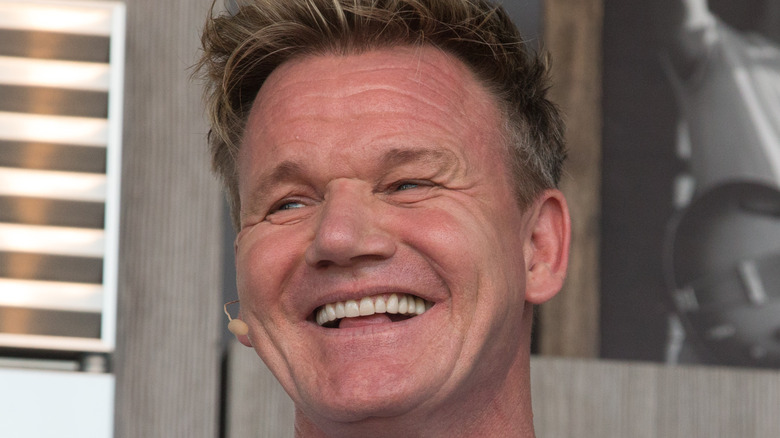 Close up of a smiling Gordon Ramsay