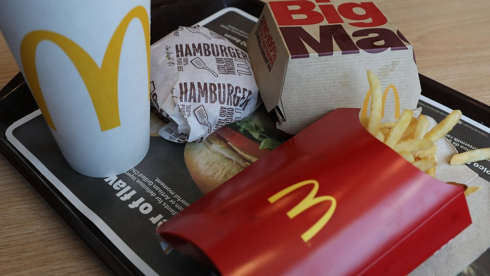 McDonald's meal on a tray