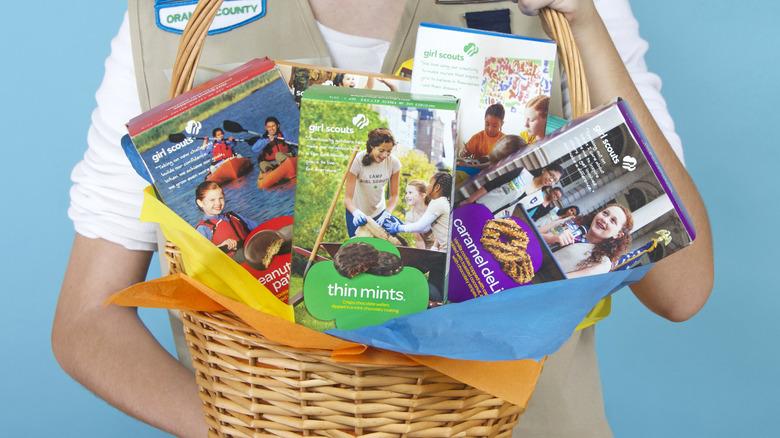 Girl Scout cookies in basket