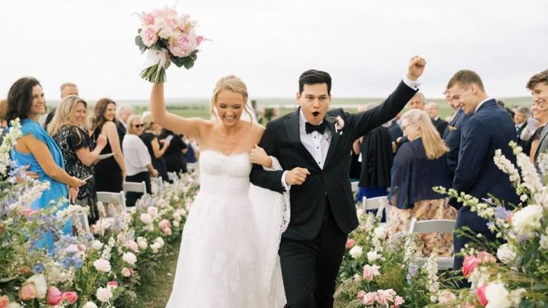 Alex Drummond and husband Mauricio celebrating