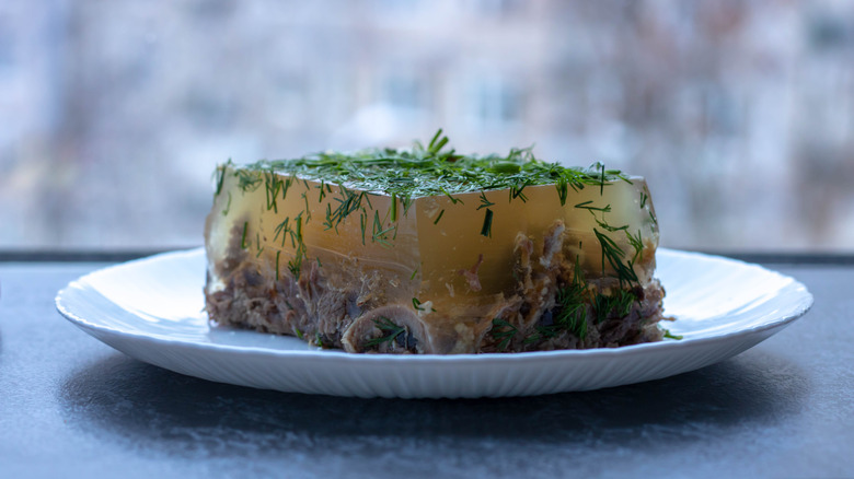 Aspic topped with greens