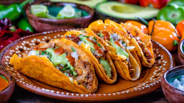 Barbacoa tacos on a plate