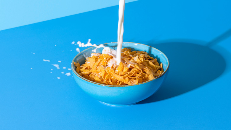 Cereal with milk in blue bowl
