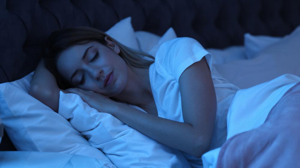 Woman getting good night's sleep