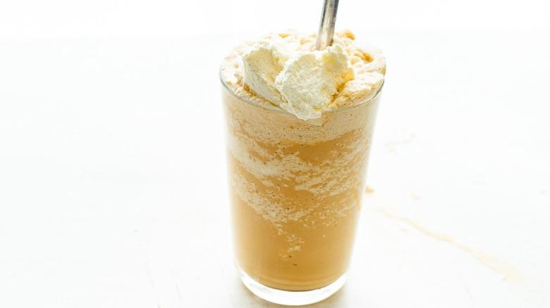 frappuccino recipe on counter