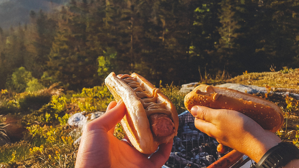 Hikers holding hot dogs
