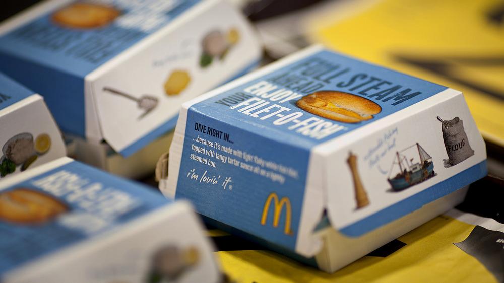Filet-O-Fish sandwich on McDonald's box