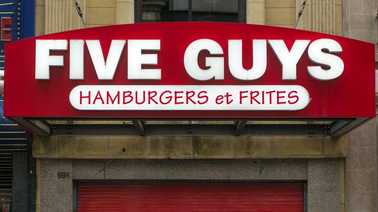 Outside of Five Guys restaurant
