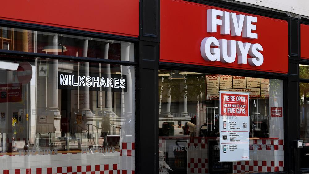 Five Guys burger restaurant window