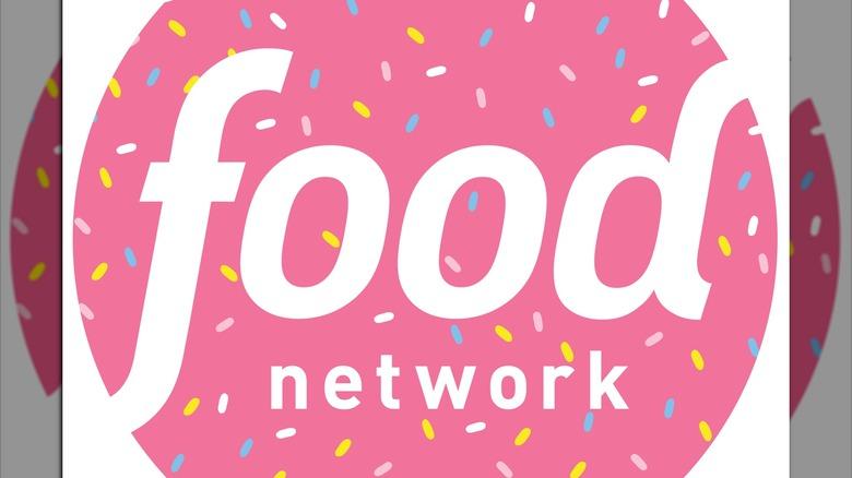 White Food Network logo on pink sprinkled background