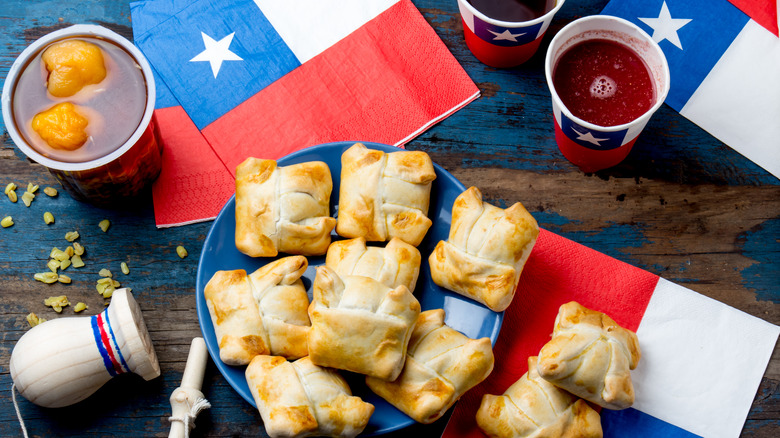 Chilean food and drink with flags