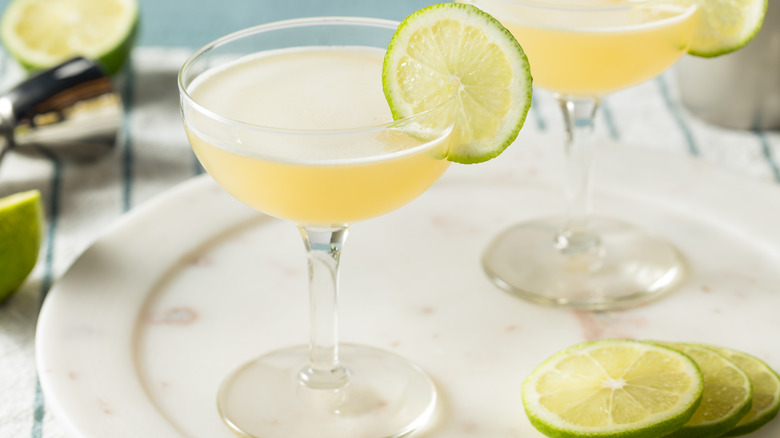 Vodka gimlet in a coupe with lime