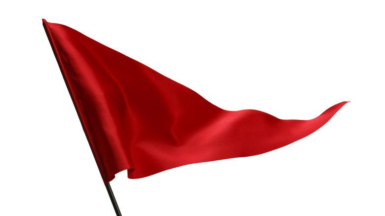 red flag flying on white background