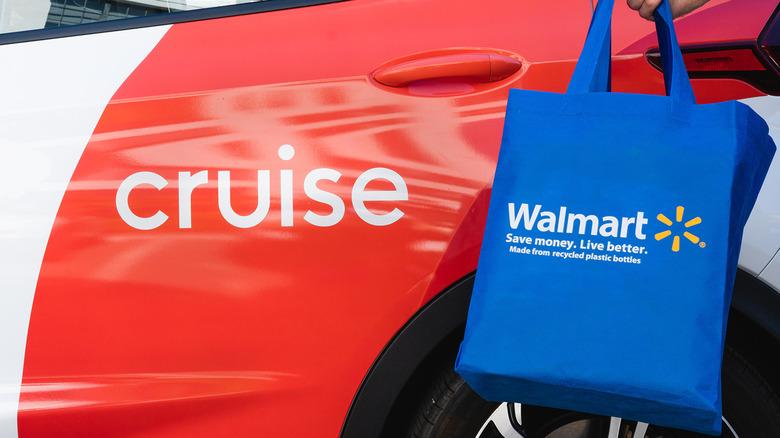 Cruise car with Walmart bag