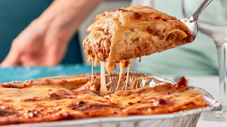 traditional lasagna with cheese pulls