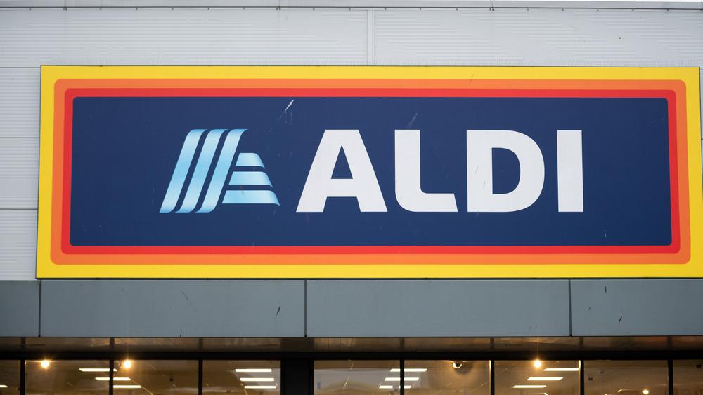 Aldi store sign close up