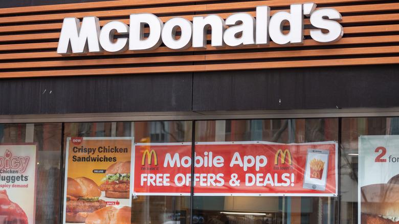 The exterior of a McDonald's