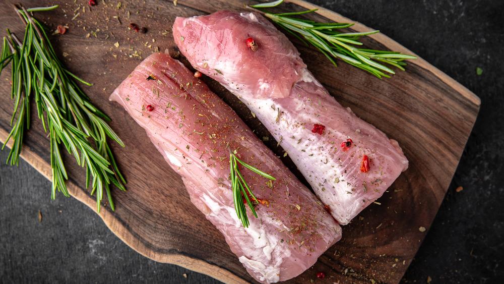 Pork Tenderloins on chopping block