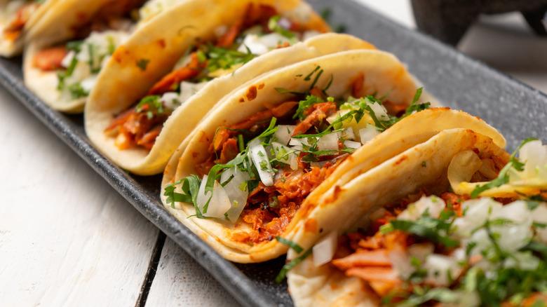 Tacos on a tray