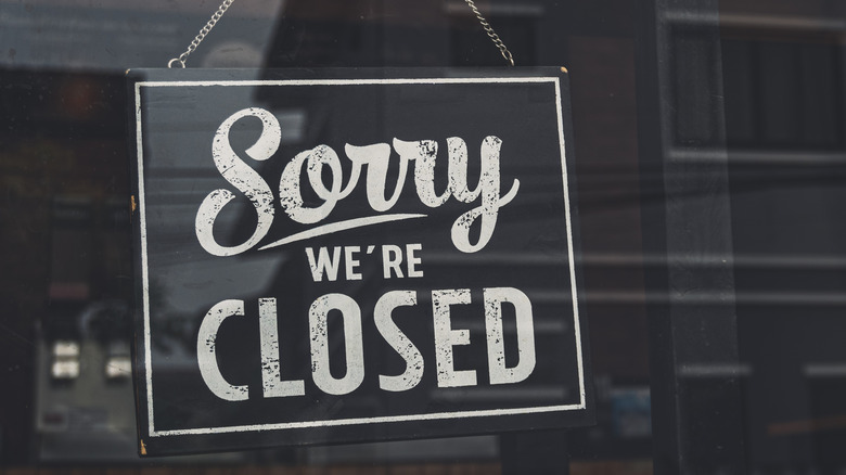 Closed sign in store window