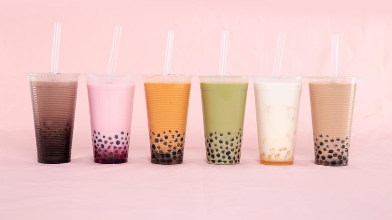 A row of colorful bubble teas