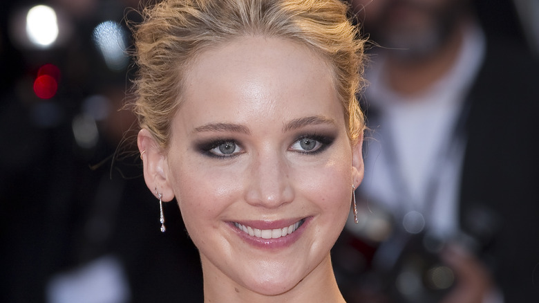 Jennifer Lawrence smiling with hair up