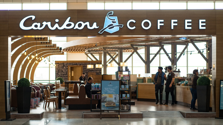 The exterior of a Caribou Coffee outlet
