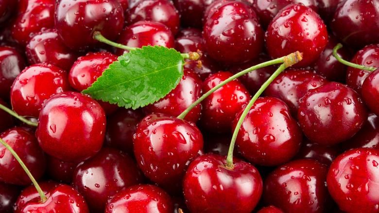 Pile of fresh cherries