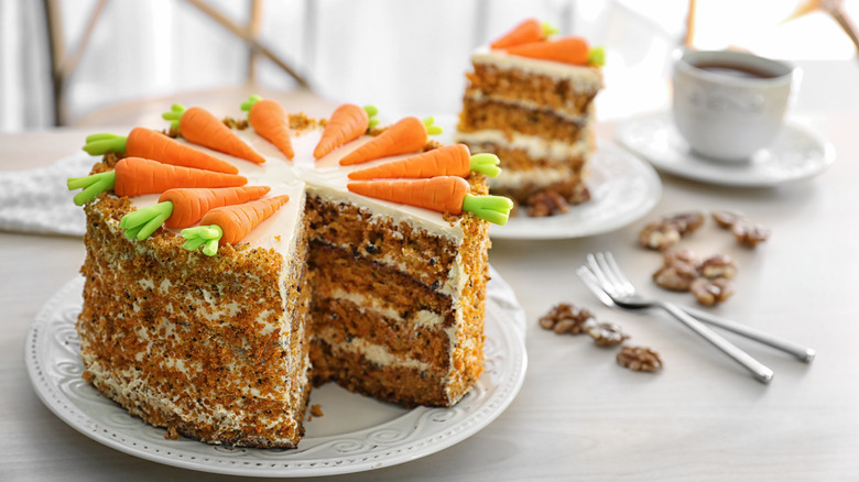 Carrot cake on a plate