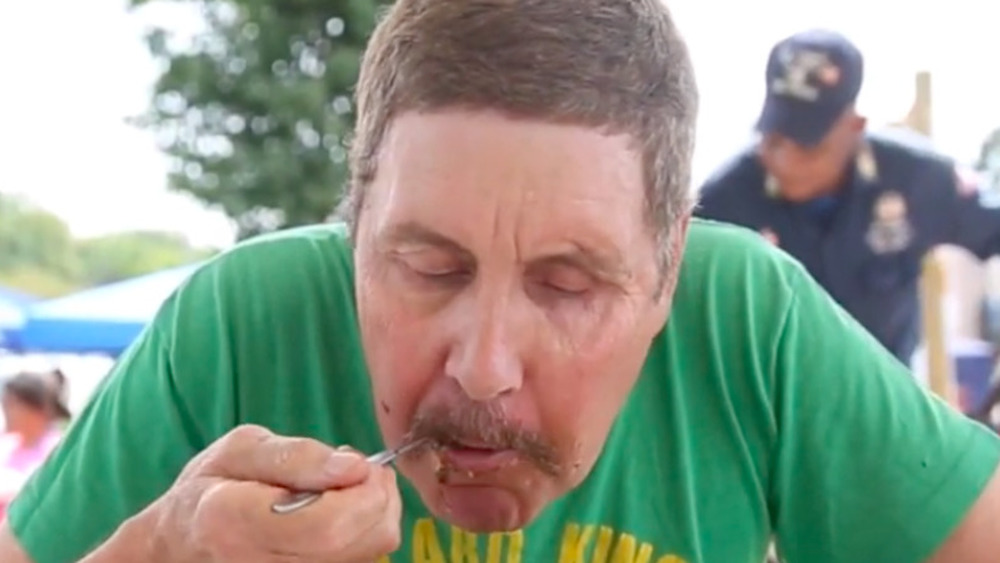 Mort Hurst eating collards