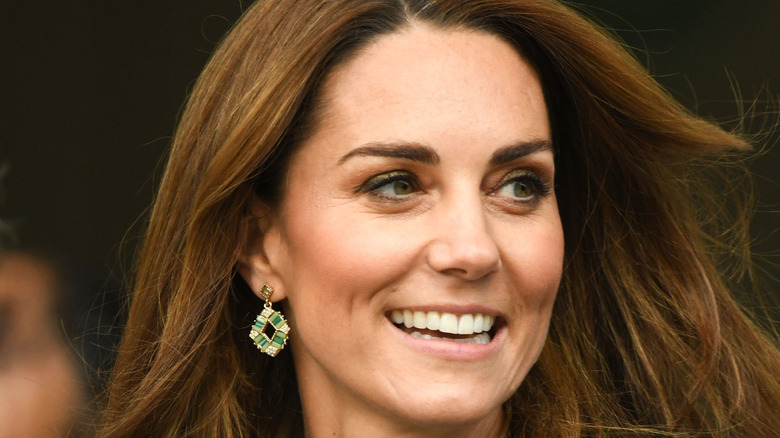 Close-up of Kate Middleton wearing earrings