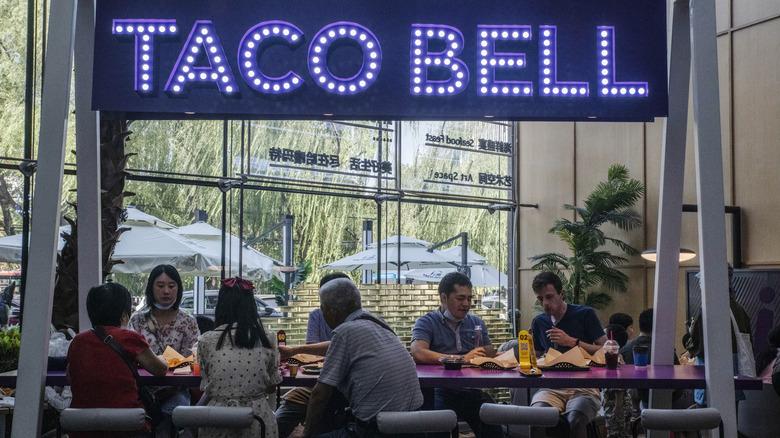 Inside a Taco Bell restaurant