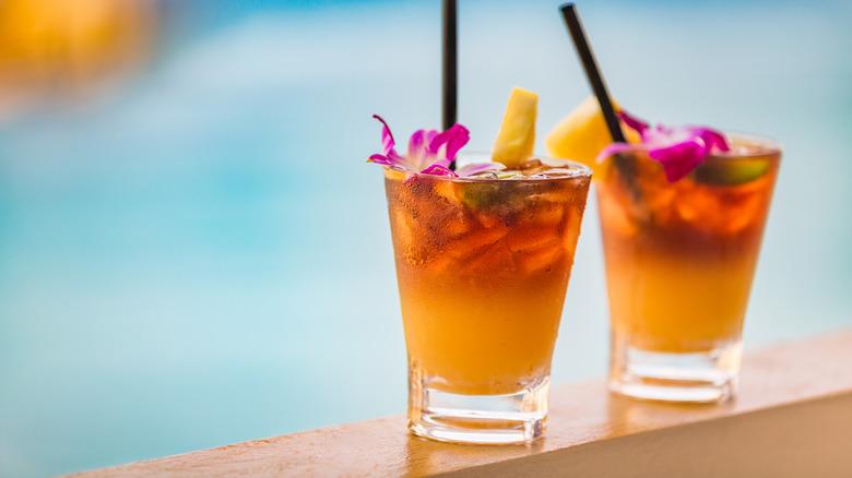 Mai tai cocktails and ocean