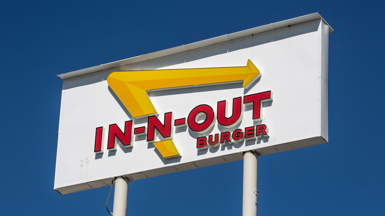 In-N-Out sign with blue sky