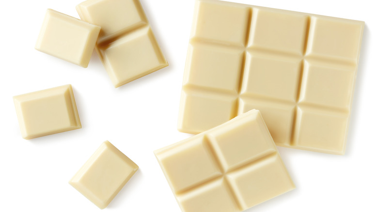 Bars of white chocolate