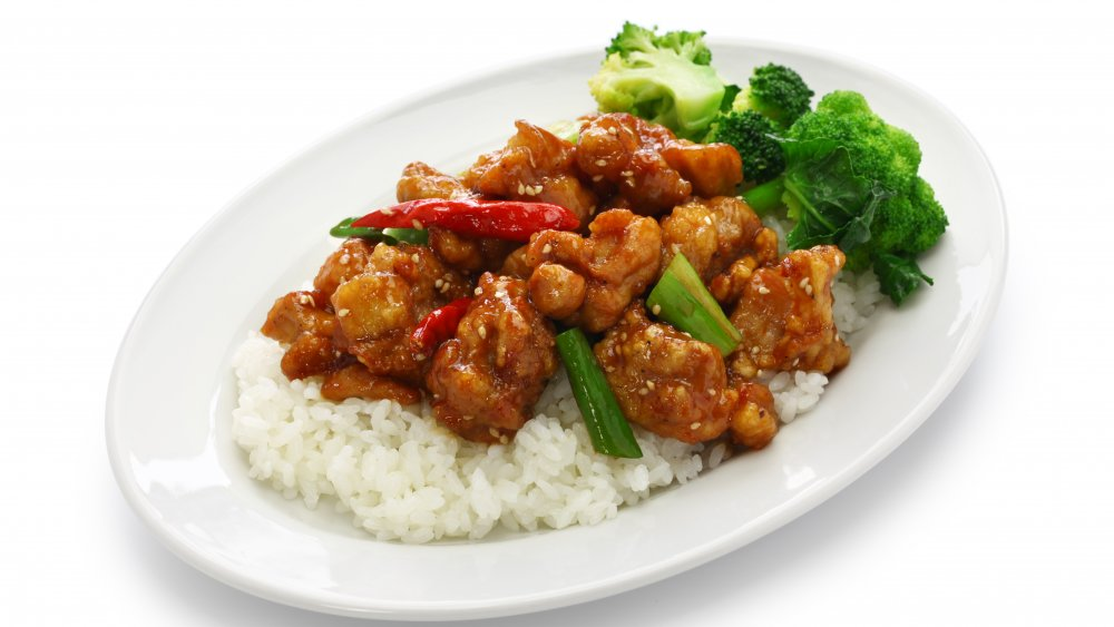 General Tso's chicken as a topping for rice