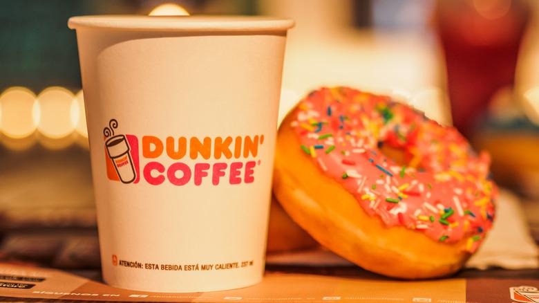 Dunkin' coffee and doughnut