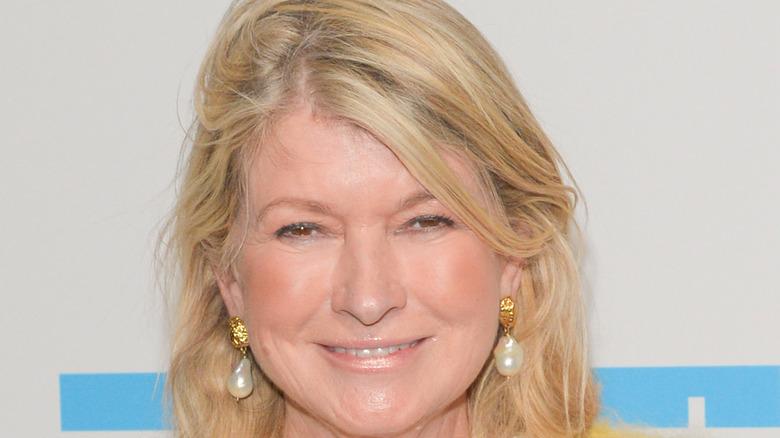 Closeup of Martha Stewart in earrings