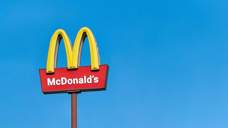 McDonald's sign against a blue sky