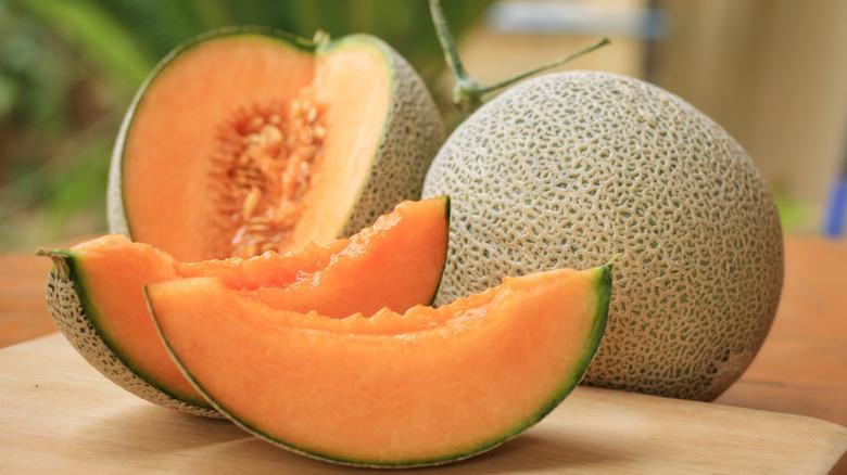 Sliced cantaloupe melons