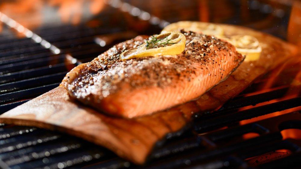 Salmon on a cedar plank