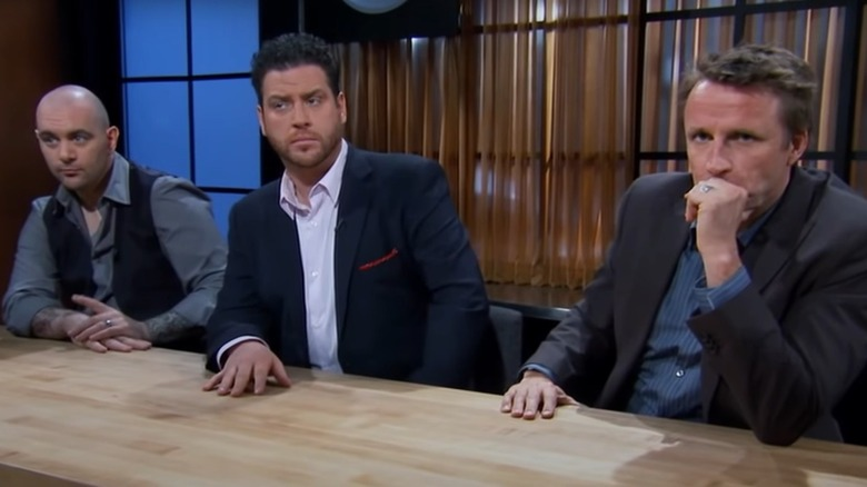 Judges on Chopped watching contestants