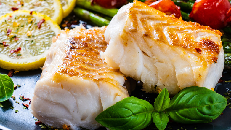 Fried cod with salad