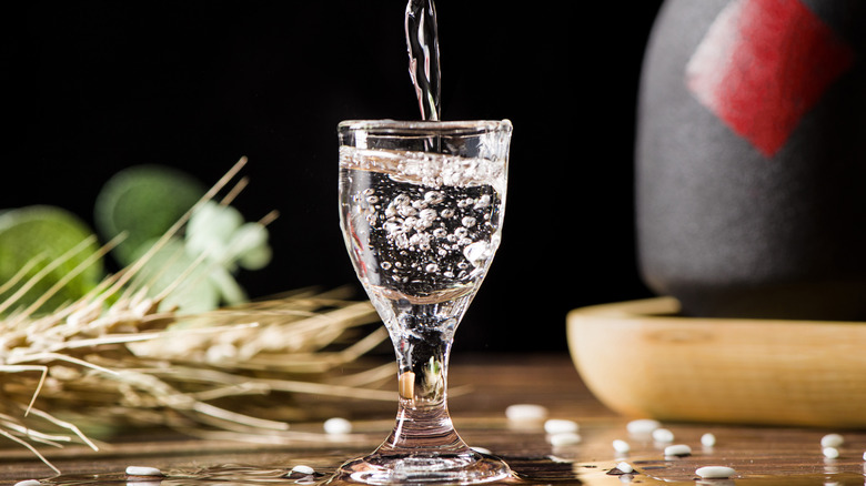 Baijiu poured into glass