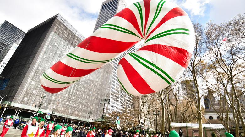 Candy cane balloon at Macy's parade