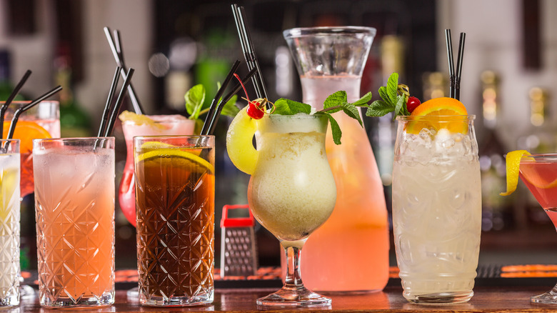 Large selection of cocktails on bar