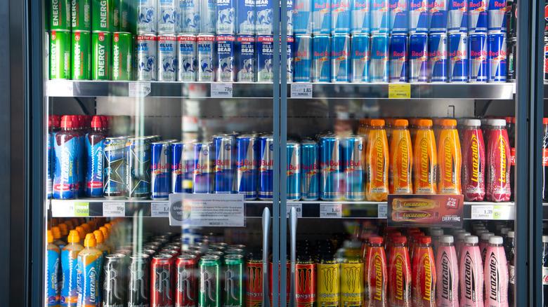 Energy drinks in a store fridge