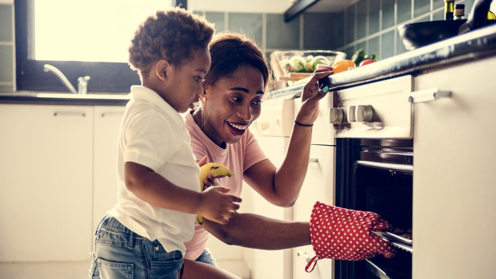 parent and child cooking at home