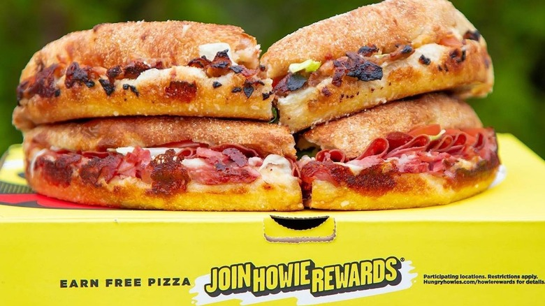 Hungry Howie's subs on pizza box