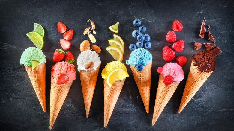 Colorful Ice cream cones